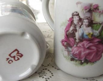Set of two vintage tea cups fairy tale design Ceramic mugs set two cups tea set gift kitchen decor tea ceremony folklore style tea cup