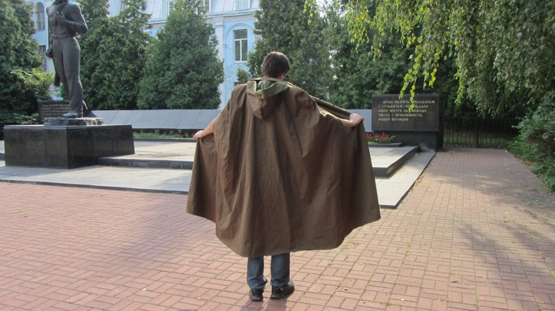 Soviet Army Groundsheet tent raincoat Vintage USSR Cape  387cc96cf
