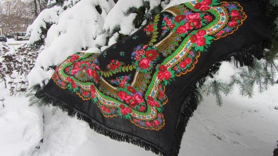 Vintage Wool Black Shawl, Vintage Ukrainian Shawl,