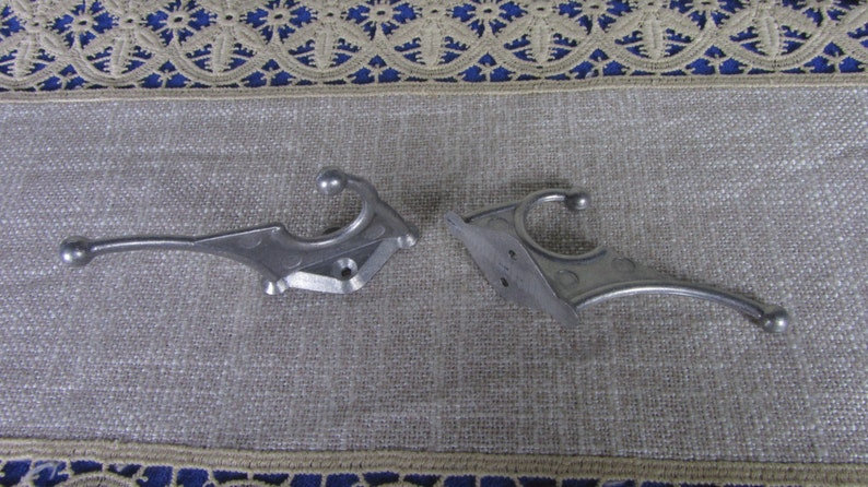 2 Small Wall Rack Hooks USSR 1970s Clothes hangers DIY Projects hooks for decor Soviet Vintage Aluminium Clothes Hook