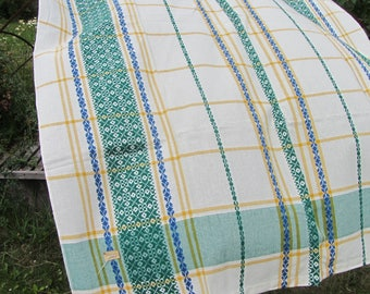 Vintage cotton tablecloth, White and green tablecloth with Ukrainians ornament, great tablecloth with ornaments, kitchen/room tablecloth