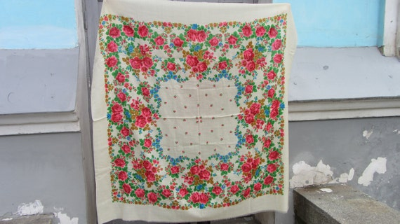 White Ukrainian shawl, Russian White Floral Scarf