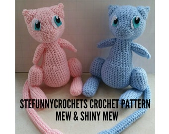 Crochet Mew and Shiny Mew Pattern, Crochet Pattern, Pokemon Crochet Pattern, Pokemon Pattern, Mew Pattern, Shiny Mew Pattern. Plush Pattern