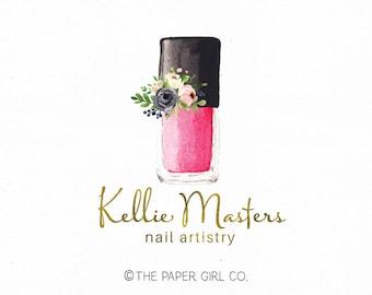 Nail Polish Logo Beauty Premade Artistry Art Technician Watercolor Bespoke