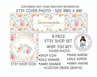 ea585a646d197 Floral etsy set etsy banner set etsy shop set branding for | Etsy