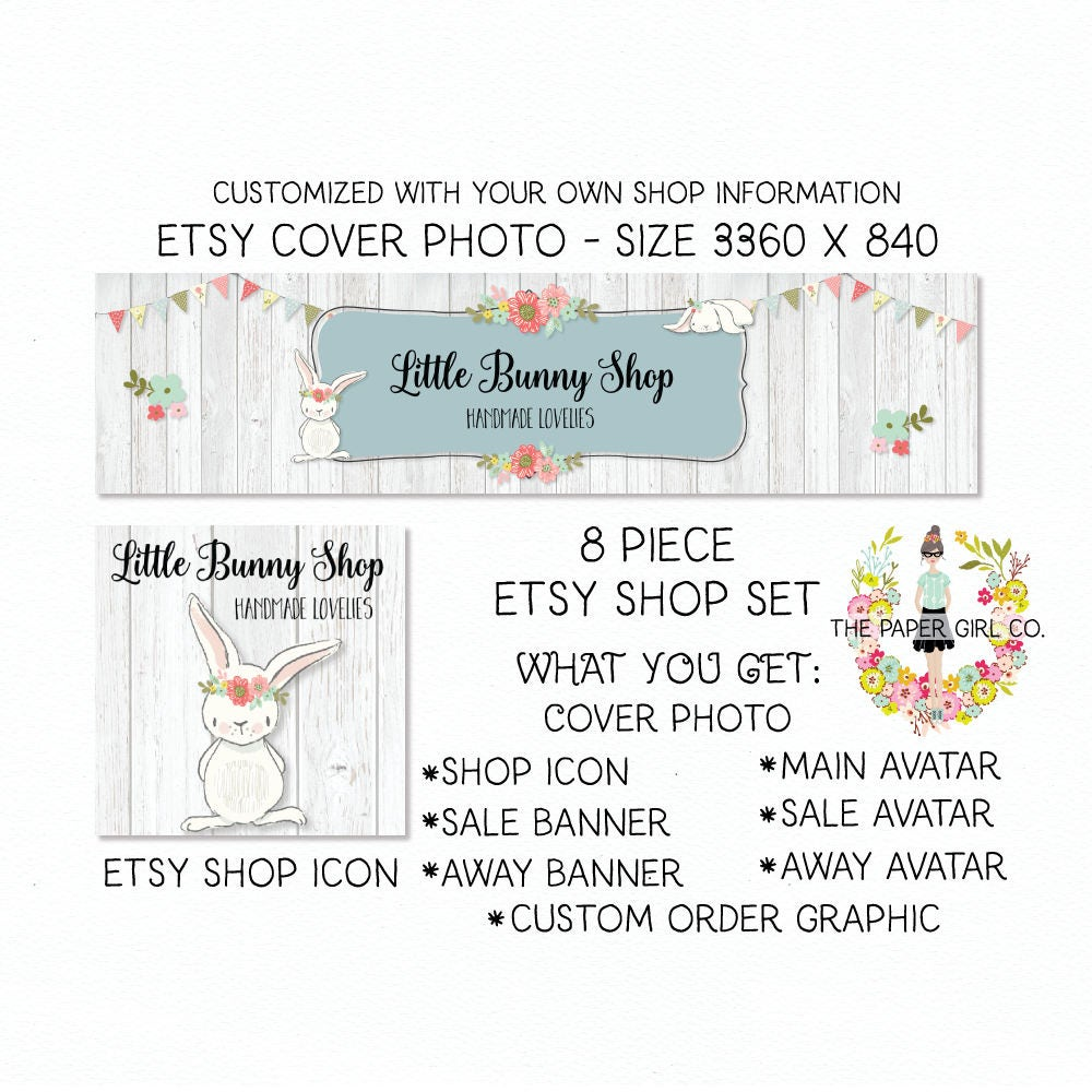 0bc84847f612f etsy shop set bunny etsy cover photo set etsy banner set etsy profile badge  bunny etsy set woodland etsy set baby shop etsy set premade set