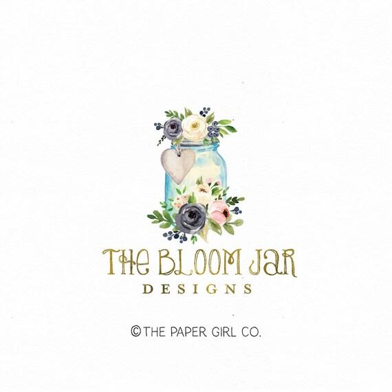 mason jar logo heart logo gold foil logo photography logo photographer logo  event planner logo wedding logo premade logo boutique logo