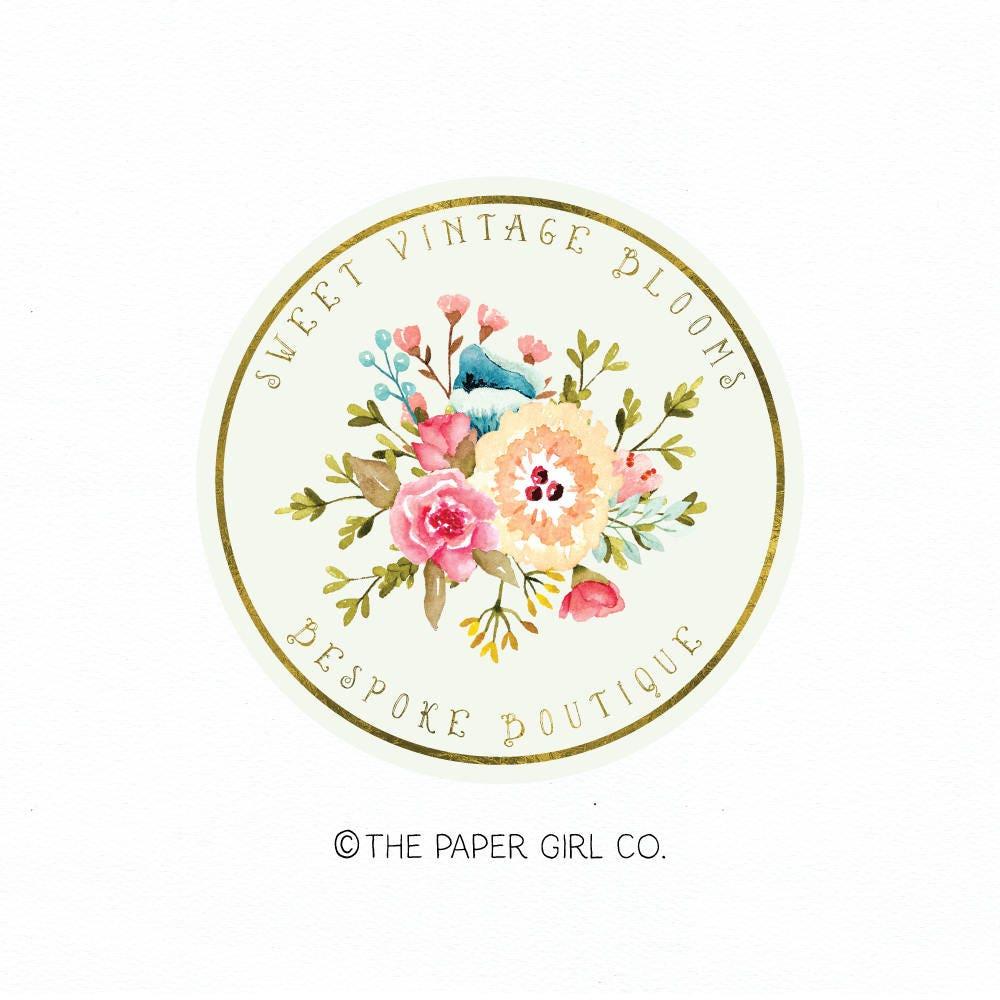 Floral Logo Flower Logo Vintage Flower Logo Premade Logo