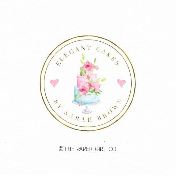 Wedding Cake Logo Bakery Logo Design Bakers Logo Design Baking Etsy