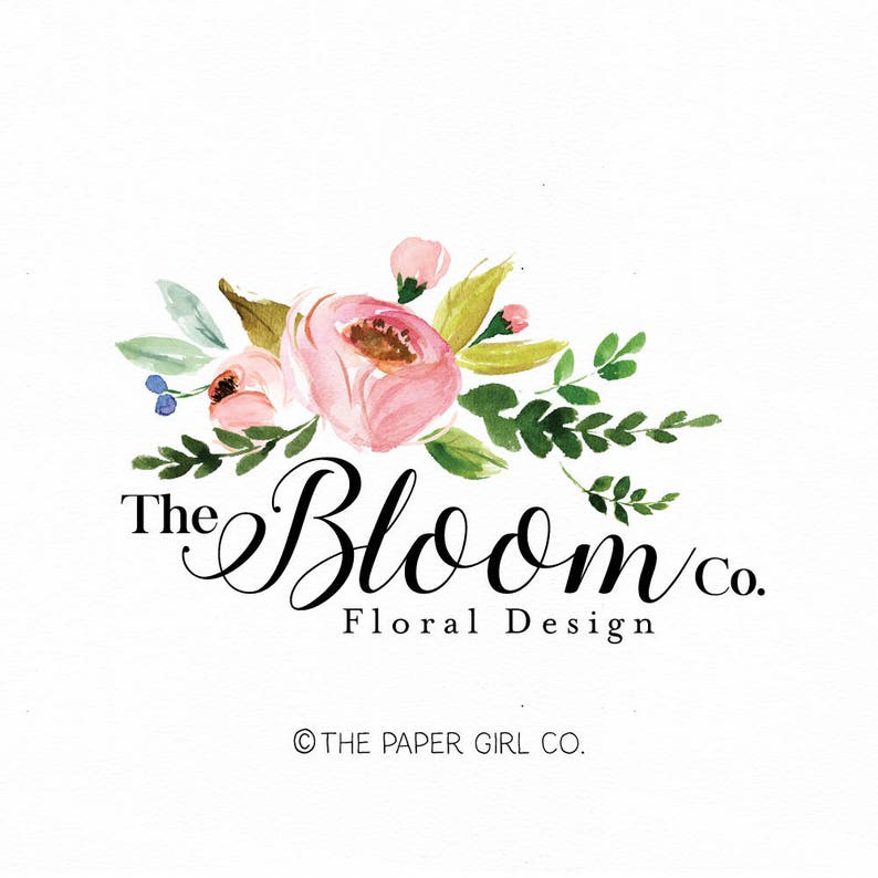 florist logo floral logo flower logo wedding logo event planner logo beauty  logo watercolor logo make up logo nail art logo photography logo