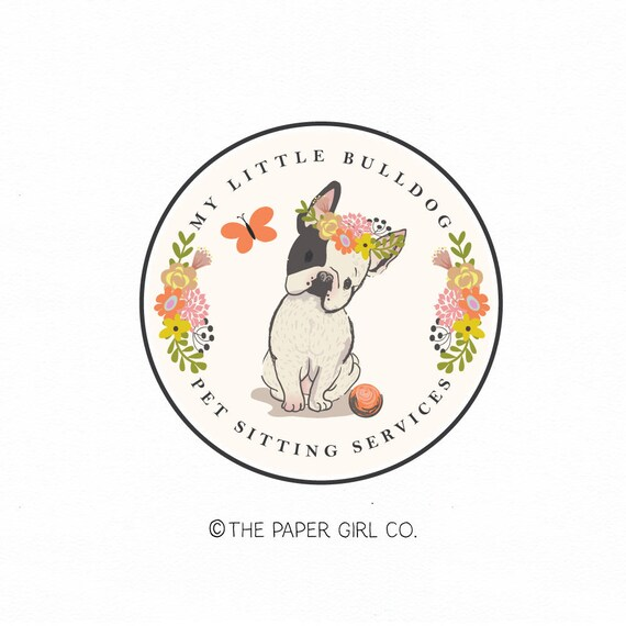 bulldog logo french bulldog logo frenchie dog logo pet logo   Etsy