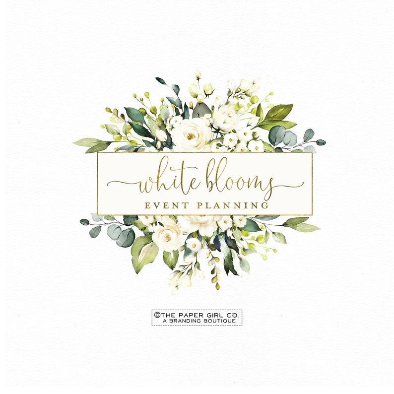 premade logo design, flower logo, floral logo, watercolor logo ,wedding  logo, event planner logo, feminine logo, business logo, branding