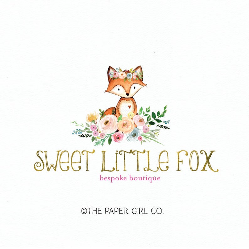fox logo design watercolor logo flower logo design gold glitter logo  photography logo woodland logo premade logo design bespoke logo