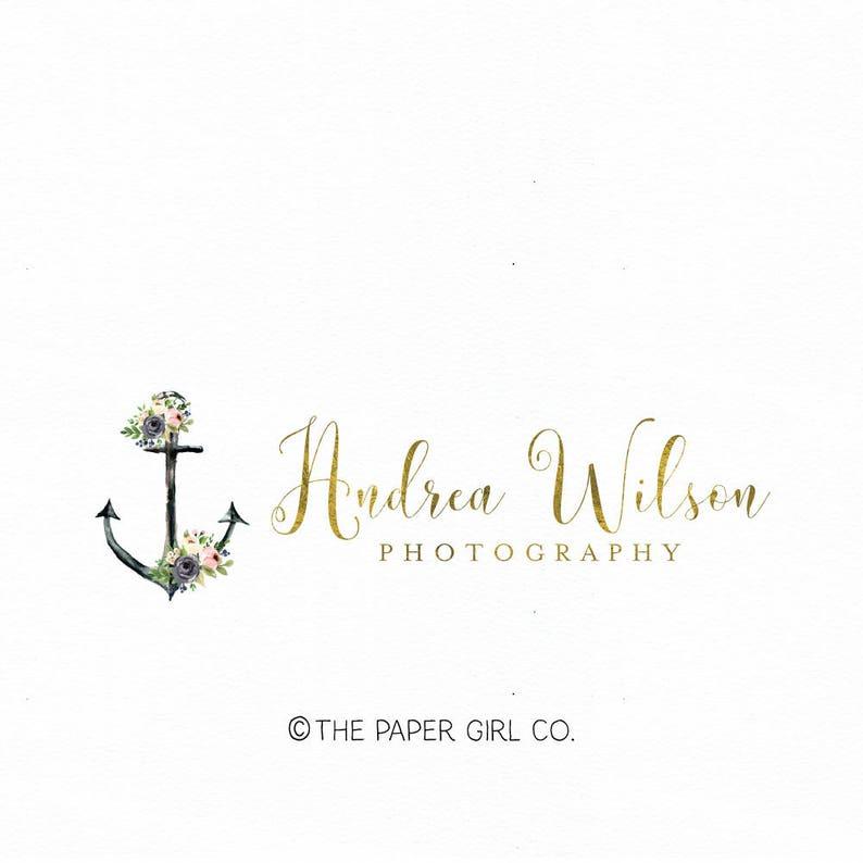 anchor logo nautical logo photography logo gold foil logo watercolor logo  realty logo ocean logo beach logo premade logo design watermark