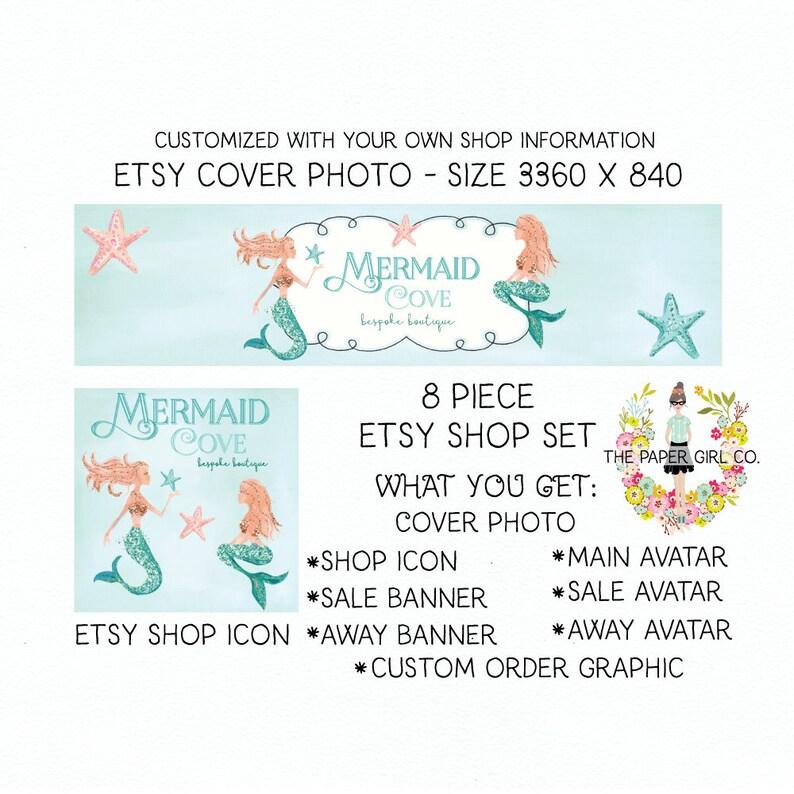 84fb4d51c5bed etsy shop banner set mermaid etsy set shop set for etsy branding for etsy  premade shop set shop icon shop banner business card design