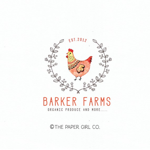 Farm Logo Design Rooster Logo Design Chicken Logo Design Etsy