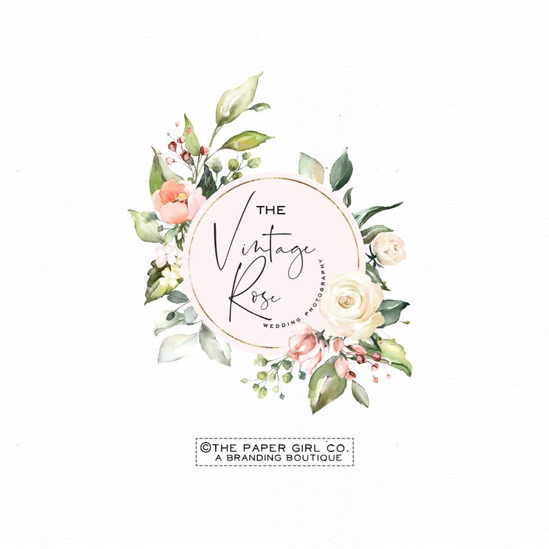 premade logo design photography logo vintage rose logo flower logo design  floral logo watercolor logo wedding planner logo business logo