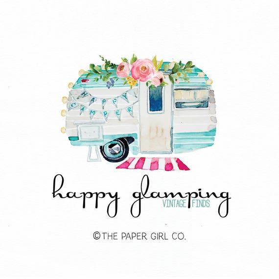 Caravan Logo Design Vintage Camper Glamping