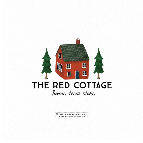 Red Cottage Logo House Logo Cabin Logo Home Logo Farmhouse Etsy