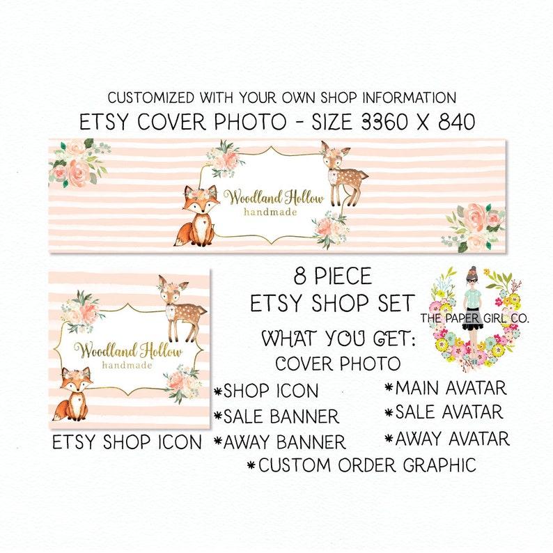 bab45ed2b6812 etsy shop set etsy cover photo set etsy banner set fox etsy shop set deer  etsy shop set premade shop set woodland etsy shop set etsy profile