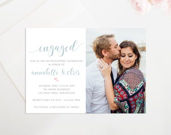 Printable Engagement Party Invitation, Rustic Engagement Party Invite, Theyre Engaged! Engagement Announcement