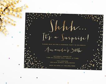 Surprise Party Invitation, Birthday Surprise Party Invite, Shhh It's a Surprise, Glitter Birthday Invite