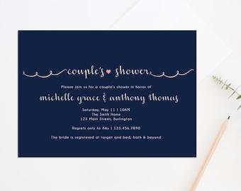 Printable Couple's Shower Invite, Co-ed Bridal Shower Invite, Kraft Paper Bridal Shower Invite, Simple Bridal Shower Invite