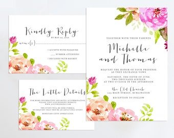 Printable Wedding Invitation Suite, Floral Wedding Invitation, Rustic Formal Wedding Invitation, Floral Wedding Invitation Set