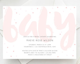 OH Baby Printable Shower Invitation Simple Invite Airbush