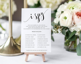 Printable Camera Game, Wedding Hashtag Sign,  I Spy Wedding Game, Wedding Reception Game, I Spy With My Little Camera, I Spy Game