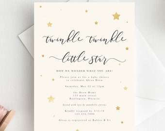 Twinkle Little Star Baby Shower Invite Theme Invitation Printable Faux Glitter