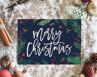 Holiday cards etsy holiday card set merry christmas card set faux foil christmas cards holiday cards greeting cards christmas card box set navy holiday m4hsunfo