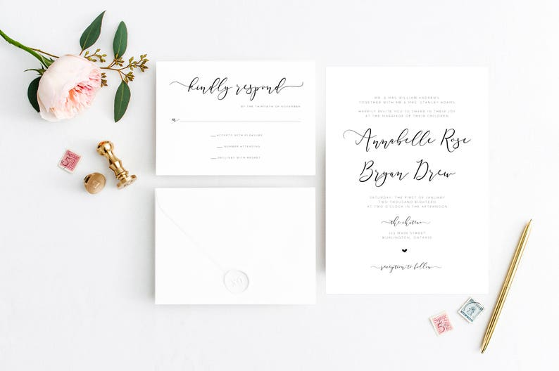 Printable Wedding Invitation Formal Wedding Invitation Hand Calligraphed Wedding Invitation White Vintage Calligraphy Wedding Invitation