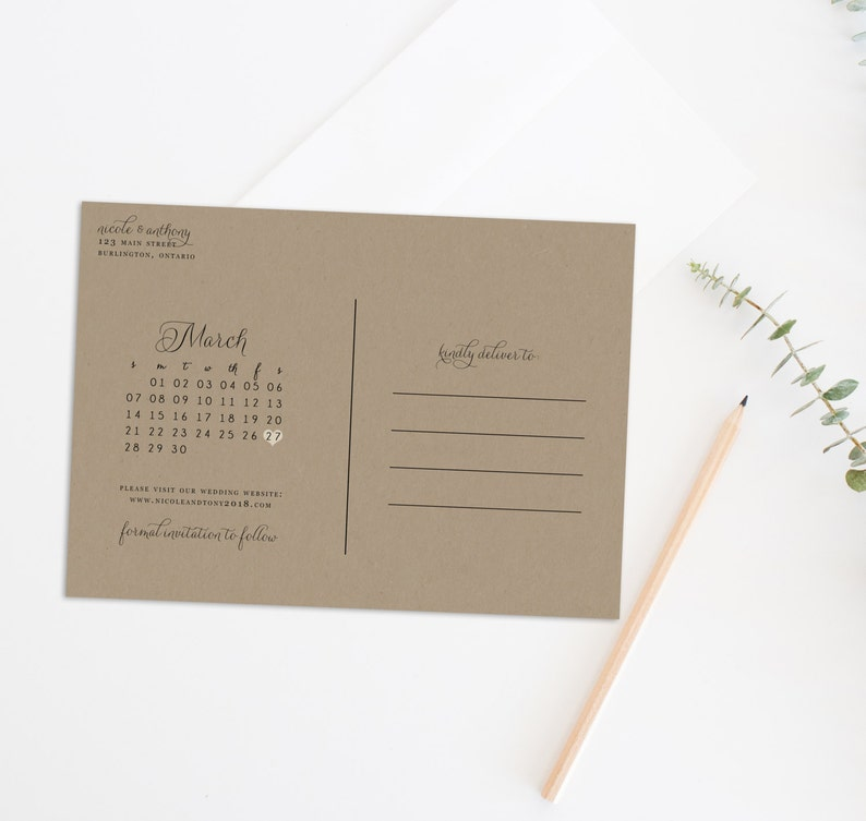 Save the Date Postcard Save the Date Calendar Rustic Save the Date Kraft Paper Save the Date Printable Save the Date