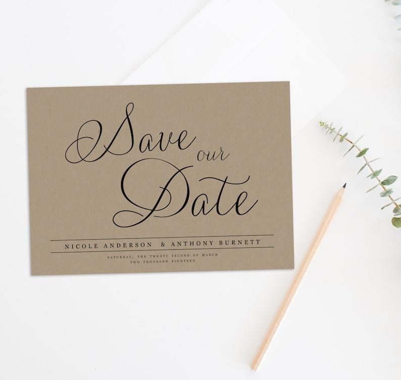 Save the Date Calendar Kraft Paper Save the Date Printable Save the Date Rustic Save the Date Save the Date Postcard