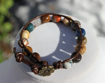 Multi Gemstone Leather Wrap Bracelet, Boho Bracelet, Hippie Bracelet, Flower Bracelet
