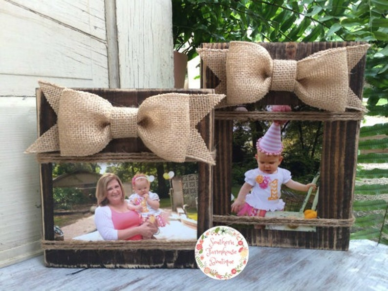 SET OF TEN Isla Frames Set of 4x6 Rustic Picture Frames Distressed Wood Frame Horizontal Burlap Bow Rustic Frames