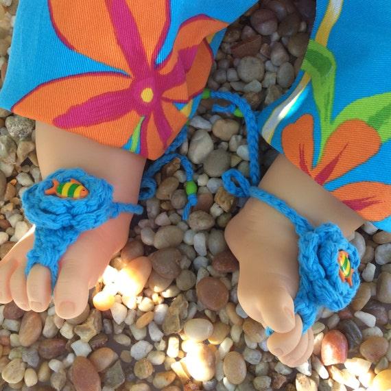 c98622134f3d1 Nautical baby sandals boho crochet booties hippie barefoot