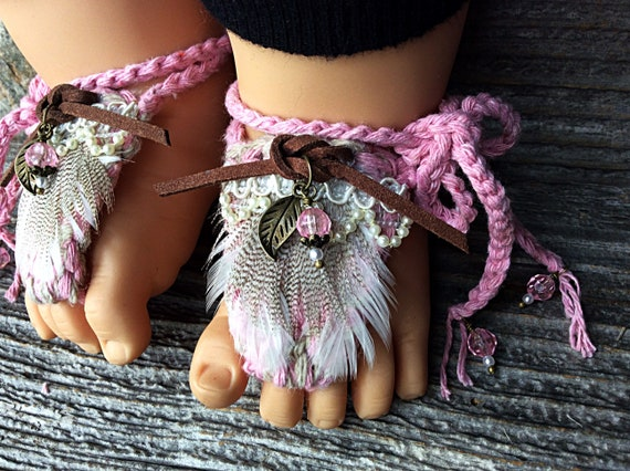 e717bedc30600 Baby lace barefoot sandals baby pearl shoes shabby chic