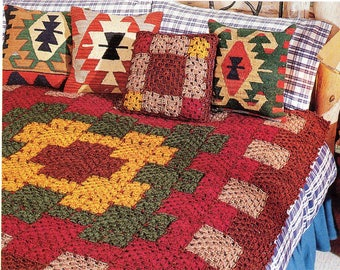 Southwestern Afghan and Pillow Crochet Pattern Western Afghan Blanket and  Pillow Crochet Pattern PDF Instant Download f7acaf304f7