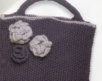 Flower applique purse knitting pattern evening purse bag pdf etsy