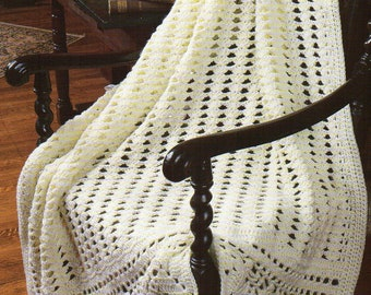 Wide Border Popcorn Stitch Afghan Crochet Pattern  Afghan Crochet Pattern PDF Instant Download