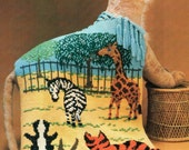 Zoo Animals Fringe Afghan Crochet Pattern Cross Stitch Embroider Tiger Giraffe Zebra Rabbit Blanket Crochet Pattern PDF Instant Download