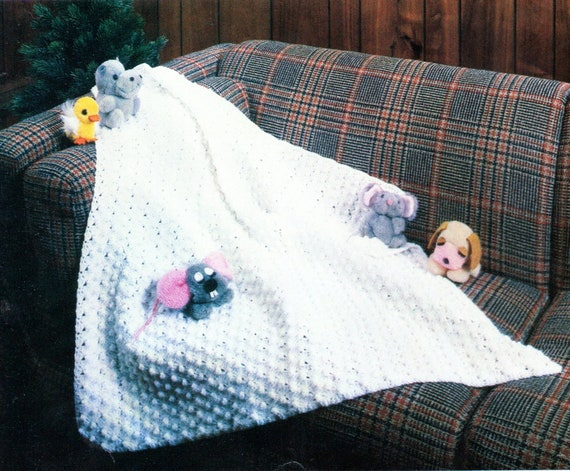 Popcorn Stitch Afghan Crochet Pattern Christening Blanket Etsy