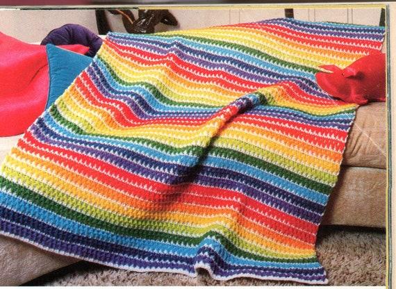 Rainbow Ripple Afghan Crochet Pattern Rainbow Afghan Blanket Etsy