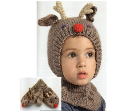 Deer Hat And Mittens Knitting Pattern Antlers Reindeer Hat And Etsy
