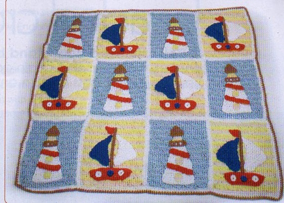 Nautical Boats Crochet Pattern Boat And Lighthouse Afghan Etsy