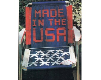 Macrame Cording Lawn Chair Folding Chair Macrame Pattern 1970s Made In The USA Red White and Blue Stars PDF Instant Download