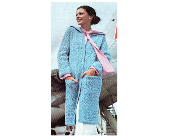 Long Maxi Sweater Coat Knitting Pattern With Pockets Sizes 10 Etsy