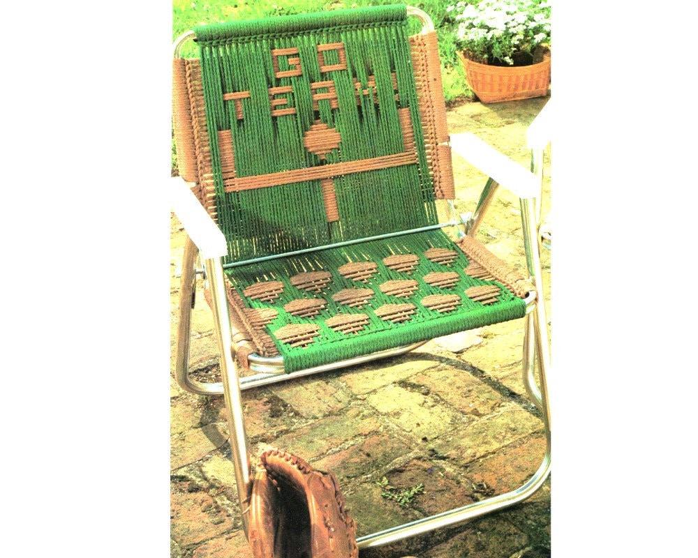 Soccer Macrame Lawn Chair Folding Chair Macrame Pattern 1970s | Etsy
